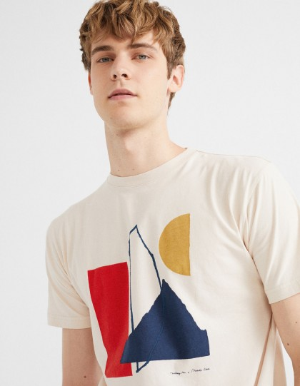 T-Shirt Homme Abstract Beige