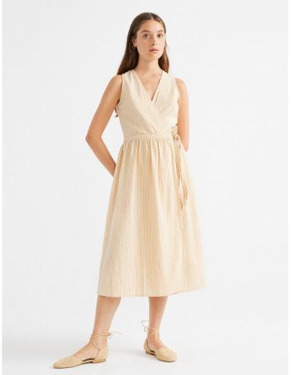 Robe rayée THINKING MU Femme Amapola Beige