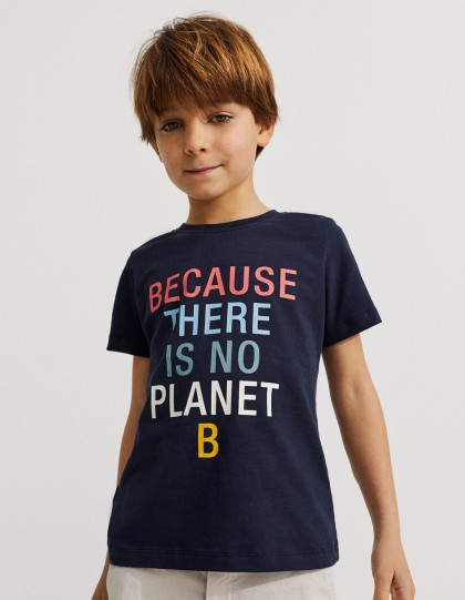 T-shirt Enfant Because Bleu Marine