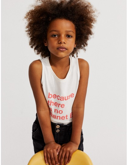 Débardeur Enfant Catalina Because there is no Planet B Blanc
