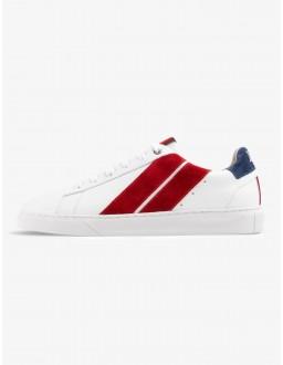 Baskets CAVAL bleu blanc rouge en cuir