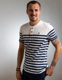 T-Shirt Bio Marinière Capitaine Blanc