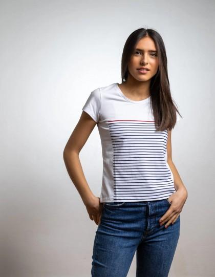 T-shirt bio Marinière Blanc Maison ft
