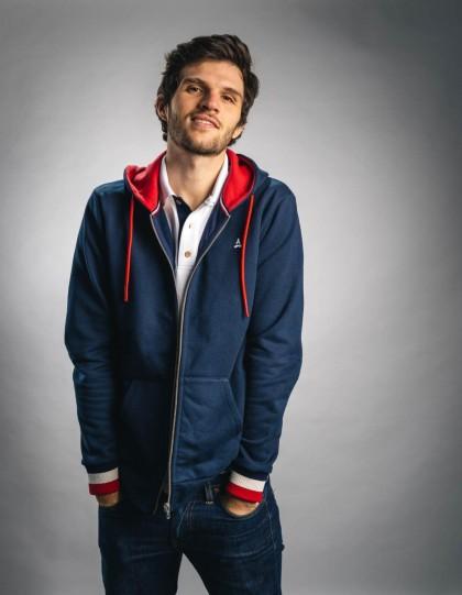 Sweat zippé coton bio Marius Bleu