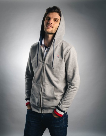 Sweat zippé coton bio Marius gris