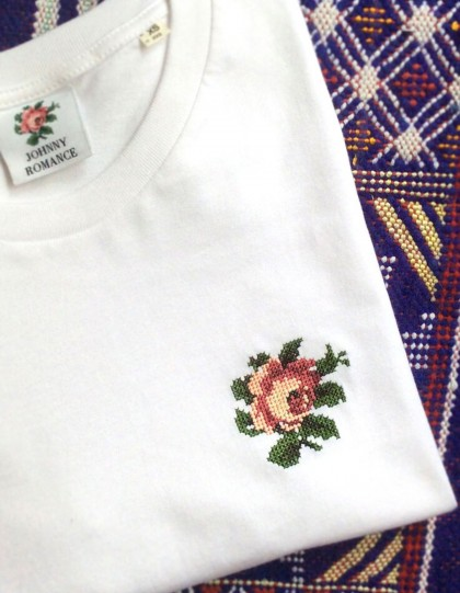 T-Shirt unisexe BIO Broderie Rose - Blanc