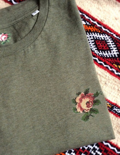 T-Shirt BIO Broderie Rose - Kaki