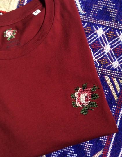 T-Shirt unisexe BIO Broderie Rose - Bordeaux