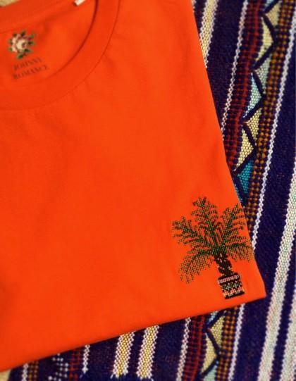 T-Shirt BIO Broderie Palmier - Orange