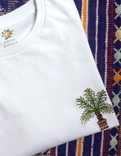 T-Shirt BIO Broderie Palmier - Blanc