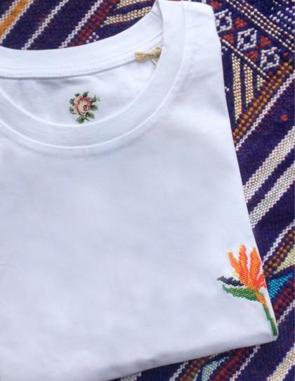 T-Shirt BIO Broderie Oiseau de Paradis - Blanc