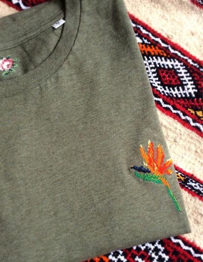 T-Shirt BIO Broderie Oiseau de Paradis - Kaki