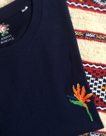 T-Shirt BIO Broderie Oiseau de Paradis - Bleu Marine