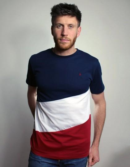 T-shirt bio diagonal Bleu, Blanc, Rouge