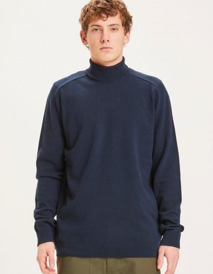 Pull BIO col roulé Field Bleu  knowledge cotton apparel