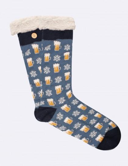 Chaussettes fourrées Homme Bière de Noël