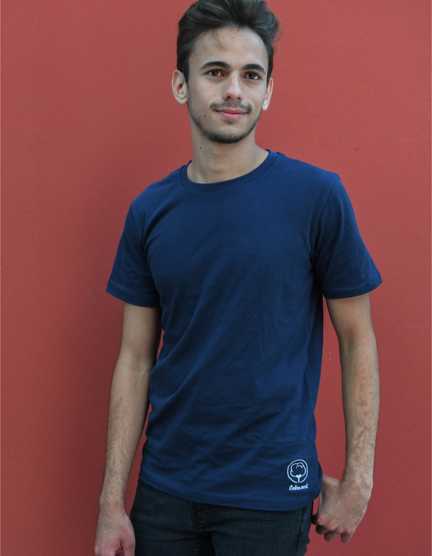 T Shirt Homme Bleu Coton Vert