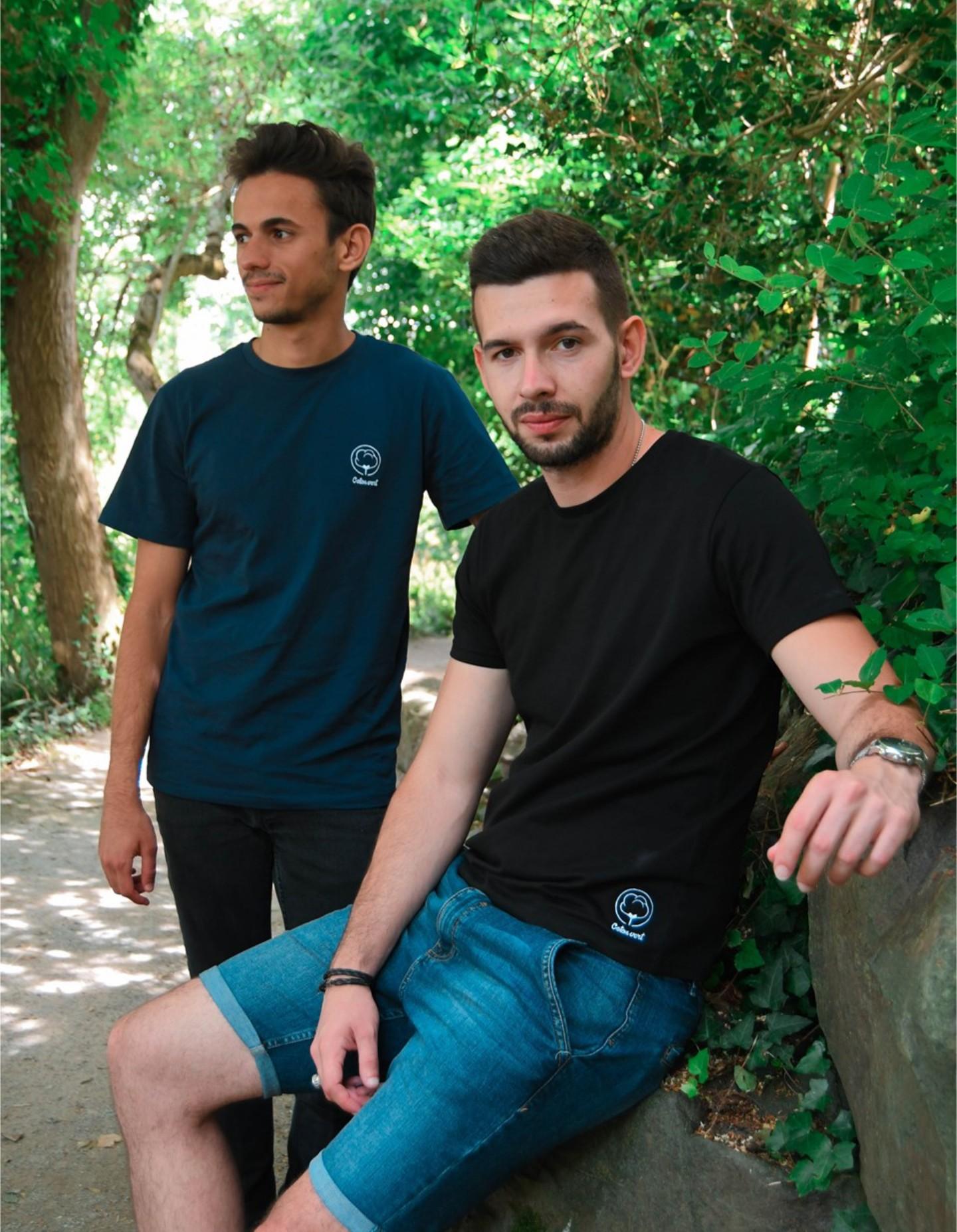 T-Shirt Noir Homme Coton Vert