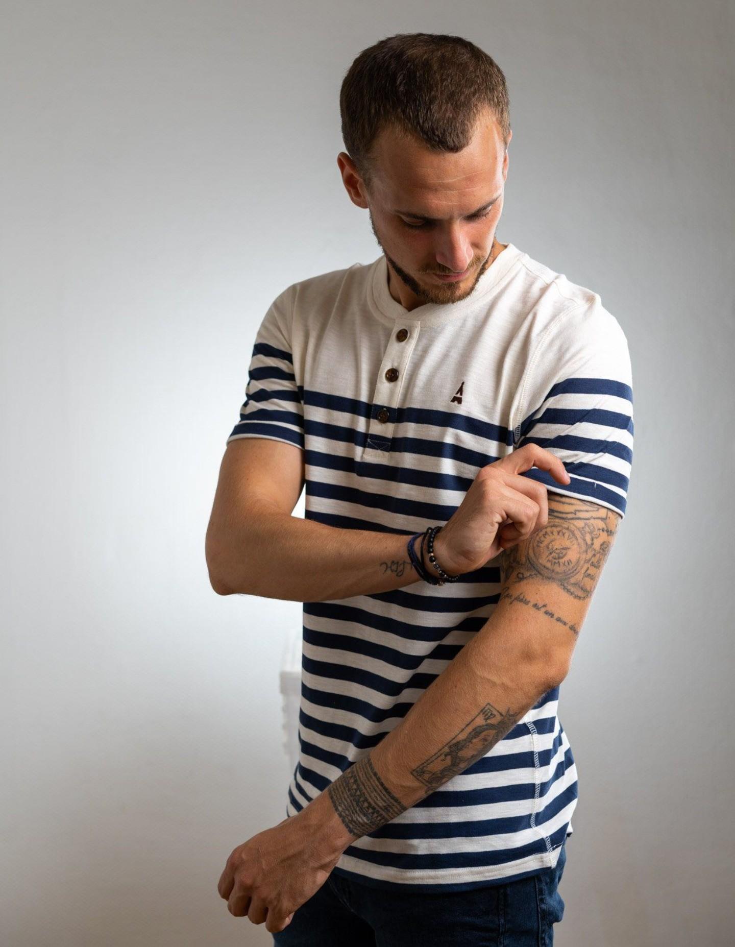 T-Shirt Marinière Maison FT Capitaine Blanc